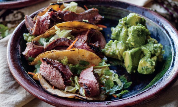 Recipe for Curtis Stone's Korean Steak Tacos with Gaucamole.