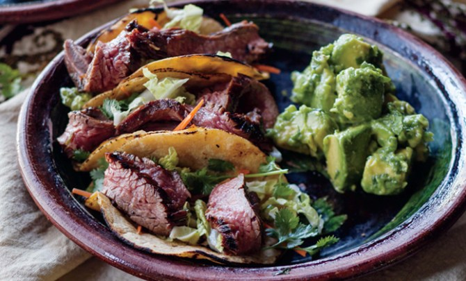 Curtis Stone's Korean Steak Tacos with Gaucamole.