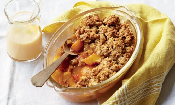 Recipe for Vegan Peach Cobbler.