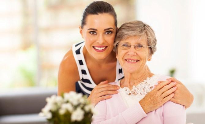 Daughter caring for her elderly mother.