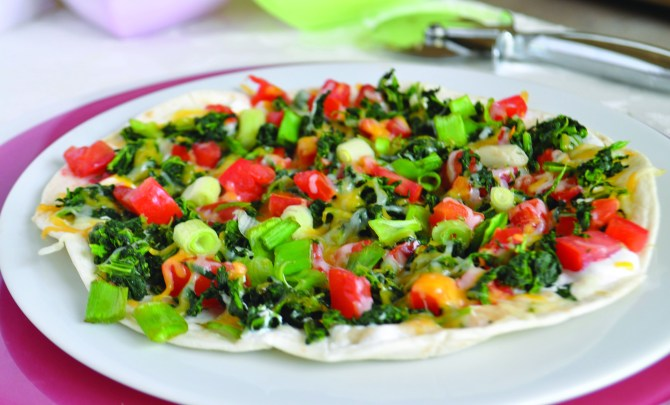 Spinach and Cheese Tortilla Pizza