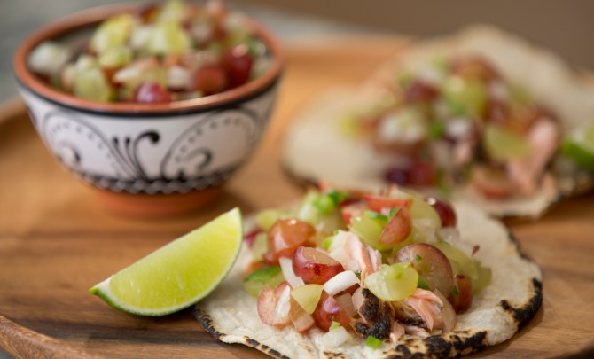 Grilled Salmon Tacos with Grape Pico de Gallo