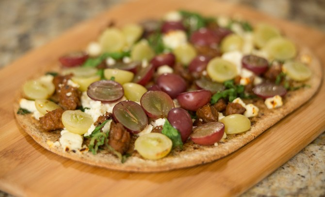Italian Sausage Flatbread with California Grapes HORIZONTAL