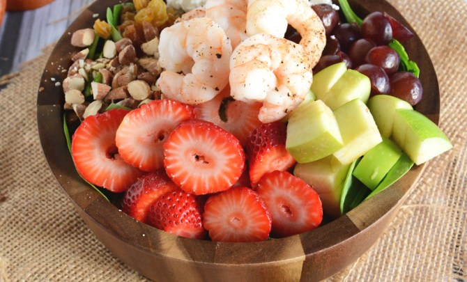 Strawberry-Almond Shrimp Salad
