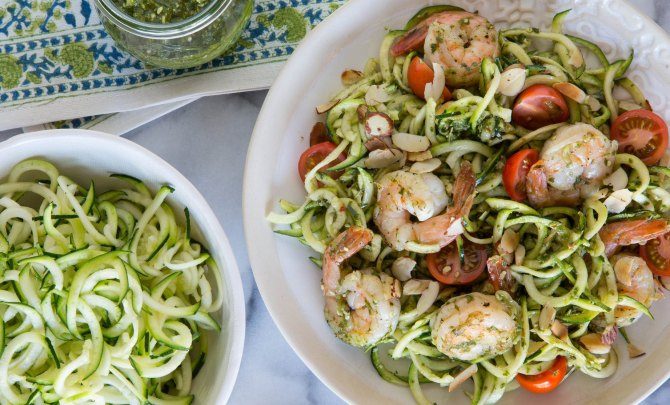 Zucchini Noodles and Grilled Shrimp with Lemon Basil Dressing
