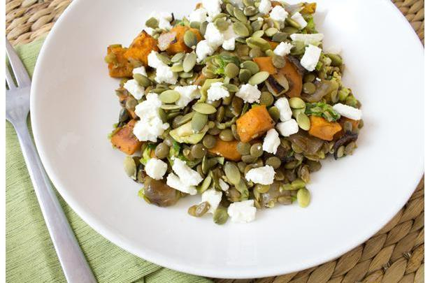 Warm French Lentil Salad with Honey Roasted Sweet Potatoes
