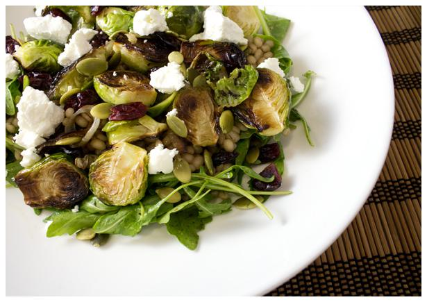 Spry Living Recipes|Crispy Brussels Sprouts Over Barley Salad