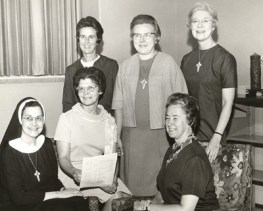 1970 — Special Chapter required by Rome for all religious Congregations. 1st row: Sisters Mary Pius (RIP), Maureen Loonam and Marie Kevin Tighe; 2nd row: Sisters Rita Clare Gerardot, Bernice Kuper and Miriam Gunning (RIP)