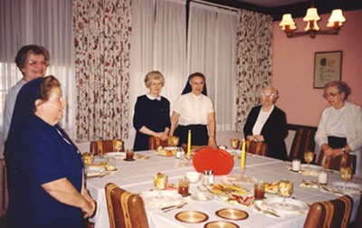 A Thanksgiving celebration at St. Joseph Convent, Quincy, Mass., in early 1990. Pictured left to right are a sister of another congregation, Sisters Michael Therese Elliott (RIP), Patricia Marie Woods (RIP), Mary Loyola Bender, Ann Veronica Wall (RIP) and Esther Marie Sullivan (RIP).