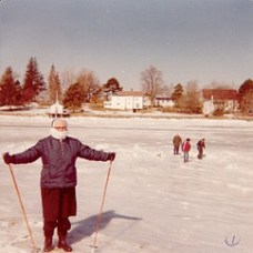 Sister Ann Raymond Reinardt (RIP) walks across the ice at Lady Isle, Portsmouth, N.H., in this 1979 photo.