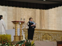 Sister Paula Damiano reads the words of Mother Theodore.