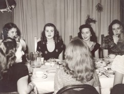 Students at Ladywood School, Indianapolis, enjoy a festive meal in this 1945 photo.
