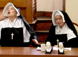 Sister Sue Paweski and Sister Hannah Corbin captured the attention of Fest attendees on Oct. 22, 2011, as they portayed Saint Mother Theodore Guerin and Sister St. Francis Xavier Le Fer de la Motte, respectively. Their dramatic (and humorous) presentation, conducted in the Providence Hall Community Room, was part of the Fest. Both received a standing ovation for the performance.