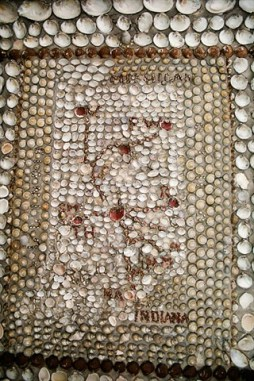 This shell mosaic shows the various journeys and missions of the Sisters of Providence in Indiana.