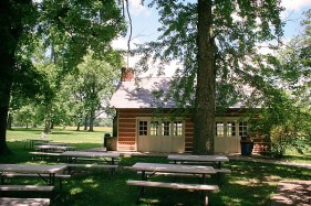 Lodge and picnic tables
