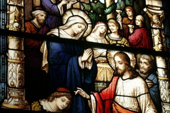 The beautiful windows were made by the Bavarian Art Institute of Munich, Germany.