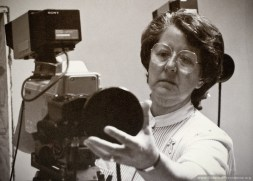 Sister Estelle Scully, Affiliate Relations Manager for Catholic Telecommunications Network, adjusts the camera to just the right angle (1987).