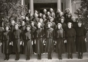 """Young women who are discerning a vocation to religious life are called postulants, from the Latin word """"postulare"""" meaning to ask. This is the band (class) that entered the Congregation in the summer of 1947."""