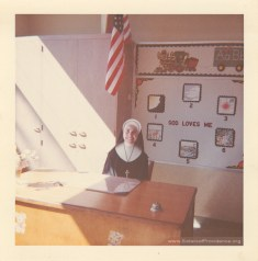 Sister Jeanette Lucinio, SP, in her classroom at St. Theresa of Avila, 1960.