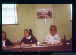 Mother Mary Pius Regnier and Sister Loretta Schafer, both members of the Sisters of Providence of Saint Mary-of-the-Woods, Indiana, in August 1976.