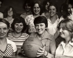 Sister Jean Kenny (center) is shown with students at Mother Theodore Guerin High School in River Grove, Ill., as they celebrate winning the 1977-1978 Faculty Foul-a-thon.