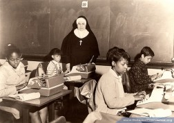 Sister Vincent Omalley (RIP) leads a typing class.