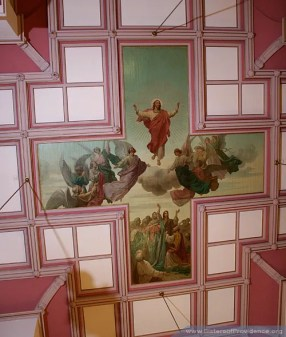The Church of the Immaculate Conception is on the motherhouse grounds of the Sisters of Providence of Saint Mary-of-the-Woods, Indiana. Now on the ceiling of the church, the painting was originally done by Thaddeus von Zukotynski on canvas pieces which were then installed on the ceiling.