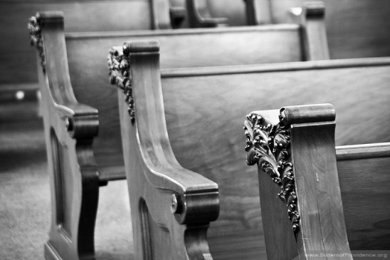 Pews in the Church of the Immaculate Conception, the chapel for the Sisters of Providence of Saint Mary-of-the-Woods, Indiana.
