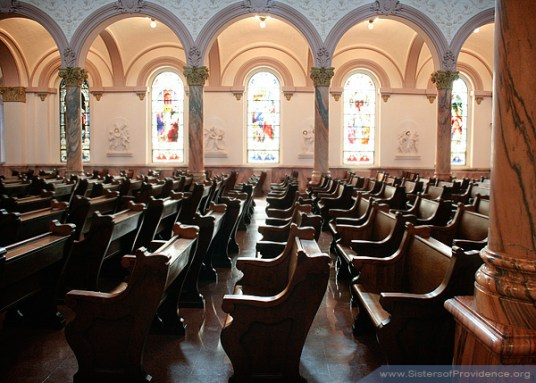 When not bustling with visitors, the Church of the Immaculate Conception provides a quiet place for Saint Mother Theodore Guerin to rest.