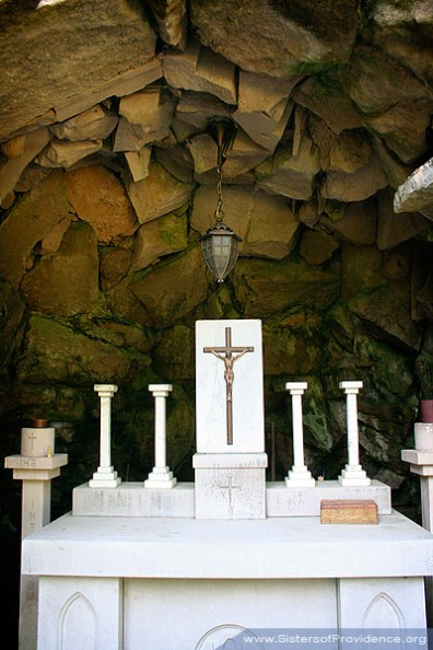 This altar resides in the right concave area of the Grotto.