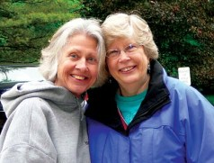 Sister Becky Keller (left) and Claudette Nowell-Philipp, of Illinois, helped plan the clean-up day, as a gift of giving from the Women in Providence who are former SPs, to the Sisters of Providence.