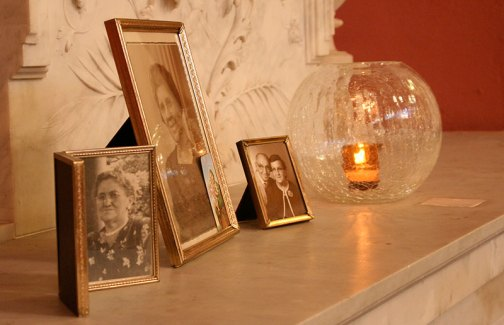 Photos of loved ones displayed by Sisters of Providence at the Church of the Immaculate Conception at Saint Mary-of-the-Woods, Ind. years ago during an All Saints Feast Day Liturgy.