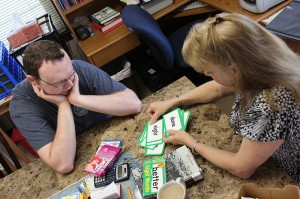 Penny Sullivan, director of Educational/Family Services (EFS) in West Terre Haute works with Dustin Drisko on reading sight words. Drisko is working on skills he needs to one day live independently or semi-independently, and the free tutoring services offered by EFS are helping him along the way.