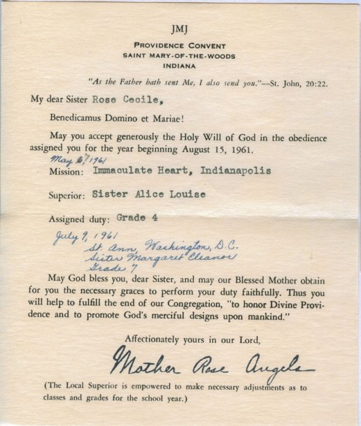 This obedience note was given to Sister Rosemary Borntrager (then Sister Rose Cecile) on May 7, 1941. This was the first year that sisters received their assignments via note instead of hearing the Obedience List read aloud.