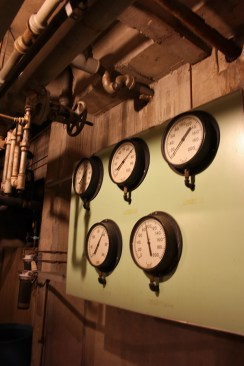 These old gauges are deep in the tunnels of Owens Hall, where a whole slew of decades-old technology is still in use.