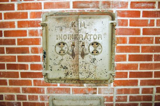 This incinerator, also in the Owens Hall tunnels, is no longer in use.