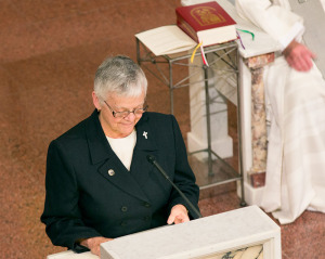 General Superior Sister Denise Wilkinson gives a reflection at the first commitment and renewal liturgy for Providence Associates.