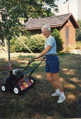 Sister Jean Fuqua mowing the lawn at St. Joseph's Lake several years ago.