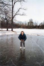 Sister Jeanne Knoerle ice skates on St. Joseph lake in 1978.