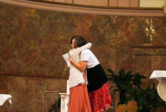 Sister Anna Fan and Sister Tracey Horan hugging after they received their crosses.