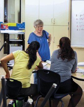 Sister Carol has many duties as director of Providence in the Desert, from organizing to fundraising. Here she fills in teaching a class for a teacher with an ill family member.