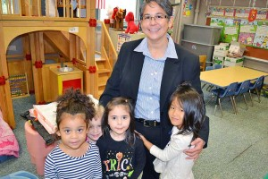 Sister Joni Luna with children from St. Patrick School.