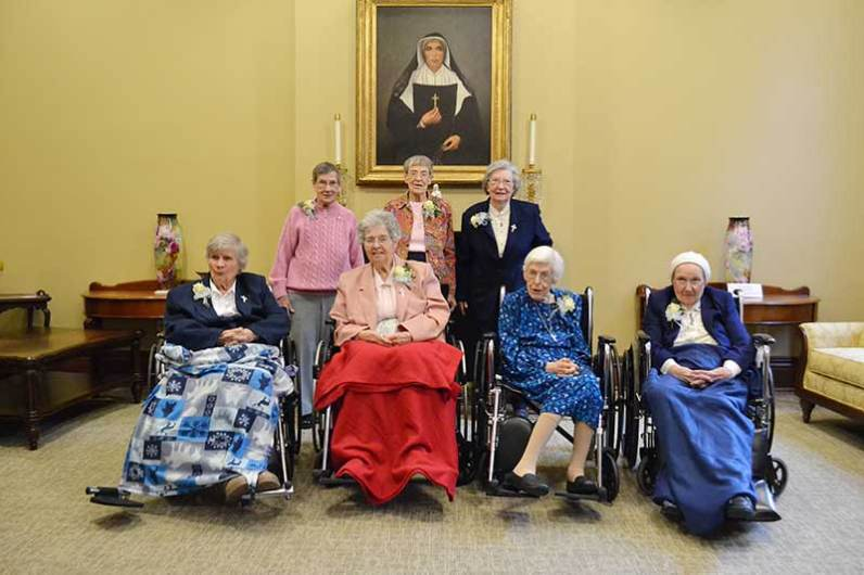 2015 70-year Jubilarians include (front, from left) Sisters Marian Ruth Johnson, Eugene Francis Keaveney, Martha Steidl, Rita Black, (back) Mary Jo Stewart, Winifred Mary Sullivan and Laurine Haley. Not pictured: Sister Marie Paul Haas.
