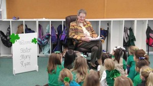On Feb. 1, Sister Mary Ryan met with 5-year-olds at St. Patrick School as part of National Catholic Schools Week.