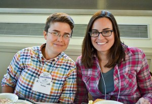 Sister Hannah Corbin, left, with a participant at the Come and See weekend last fall. Hannah invites you come and see with other discerners April 8-10.