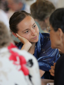 Sister Tracey listens during table sharing at a recent gathering at Saint Mary-of-the-Woods.