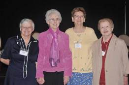 Sister Denise Wilkinson (from left), Sister Ann Margaret O'Hara, Sister Dawn Tomaszewski and Sister Nancy Nolan, represent the current, past and future general superiors. (Photo by Sister Evelyn Ovalles)