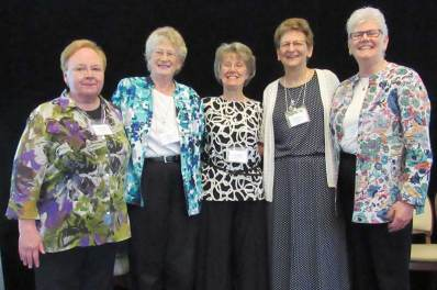 Sisters of Providence who were elected as General Officers during the 2016 General Chapter included (from left) Sister Mary Beth Klingel, Sister Jeneen Howard, Sister Jeanne Hagelskamp, Sister Dawn Tomaszewski (who will minister as General Superior) and Sister Lisa Stallings. (Photo by Sister Joni Luna)