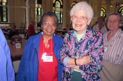 Sister Kathleen Bernadette Smith (left) with Sister Florence Norton. (Photo by Sister Joni Luna)