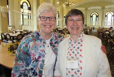 Newly re-elected General Vicar Sister Lisa Stallings with Sister Marilyn Baker (photo by Sister Joni Luna)